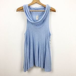Free People Sky Blue Swing it Cowl Neck Tank Top